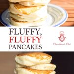 A Pinterest-optimised image with two photos of the fluffy pancakes stacked on plates, separated by text.