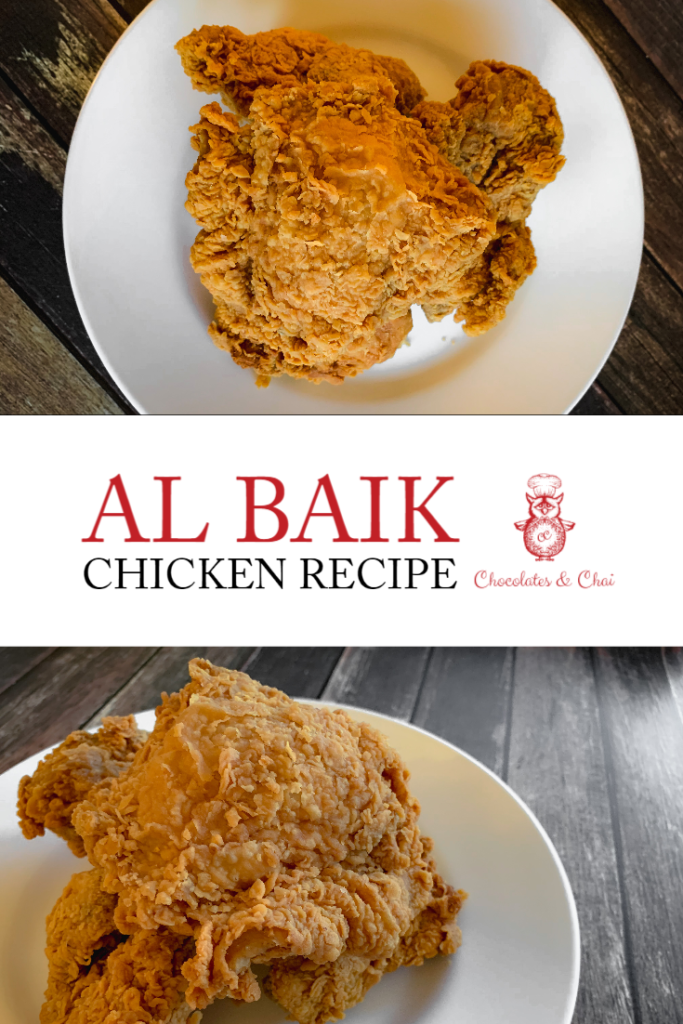 A Pinterest-optimised graphic with two photos of Al Baik chicken stacked atop one another, separated but the recipe title.